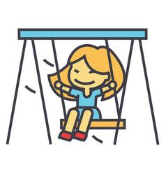 Little girl on swing in kindergarten concept line vector