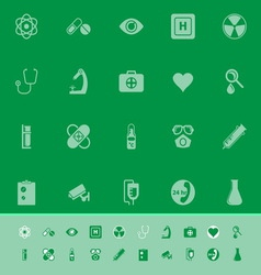 General hospital color icons on green background vector