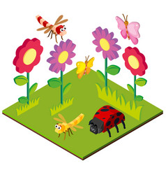 3d design for garden scene with bugs and flowers vector image vector image