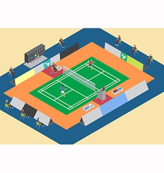 Badminton competition single match vector