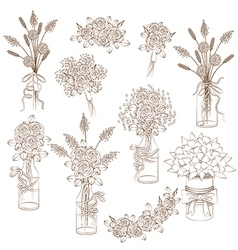 Outline rustic bouquets vector