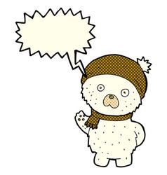 Cartoon cute polar bear in winter hat and scarf vector