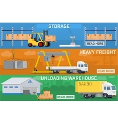 Warehouse and logistics banner set vector