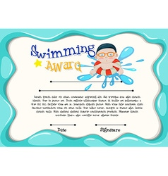 Certification template of best swimmer vector