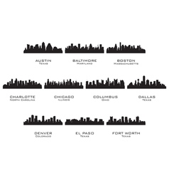 Silhouettes of the USA cities 1 vector image
