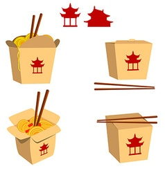 Set of china food boxes isolated on white backgrou vector