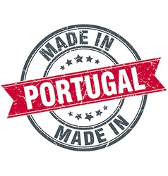Made in portugal red round vintage stamp vector
