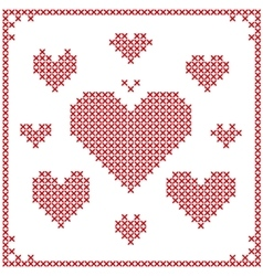 Set of cross stitch embroidery hearts vector