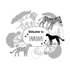 Background with savanna animals-02 vector