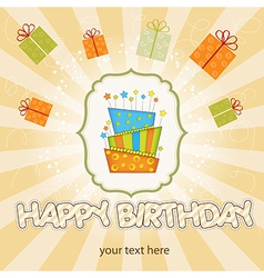 big birthday cake with burning candles vector image vector image