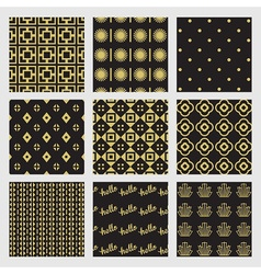 Black and golden modern geometrical patterns set vector