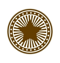 brown stamp abstract art deco emblem with star vector image
