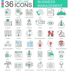 Business management modern color flat line vector image