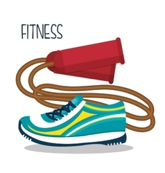 Cartoon skipping rope sneakers fitness elements vector