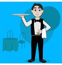 Cartoon waiter vector image vector image