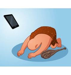 caveman worshiping a gadget vector image vector image