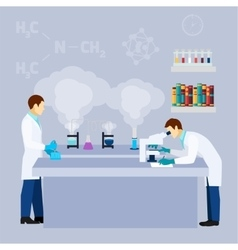 Chemical lab science research flat poster vector
