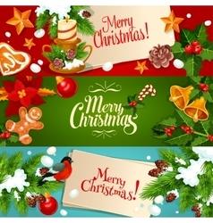 Christmas and new year festive cartoon banner set vector