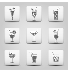 Cocktail icons on web buttons vector image