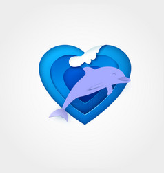 dolphin on blue heart shaped sea with wave vector image vector image