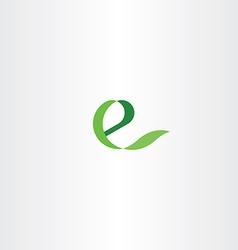 Eco green e letter icon e health logo vector