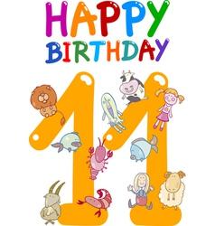 eleventh birthday anniversary card vector image vector image