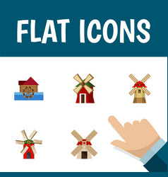 Flat icon mill set of rural watermill propeller vector