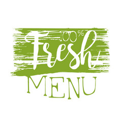 Fresh menu green label vector