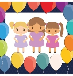 Girls cartoons and happy birthday design vector