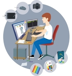 Graphic designer with a variety of tools vector image