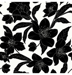 Hellebore floral seamless pattern black tattoo vector image vector image