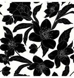 Hellebore floral seamless pattern black tattoo vector image