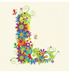 letter L floral design vector image vector image