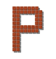 Letter p made from realistic stone tiles vector
