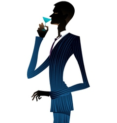 man with a martini vector image vector image