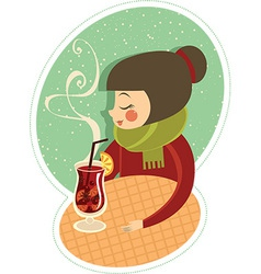 Mulled wine in winter cafe vector