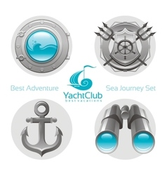 Sea travel icon set with sailing icons porthole vector