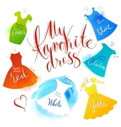Watercolor dress vector image