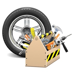 Wheel with toolbox vector