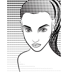 Woman in the pop art comics style halftone vector
