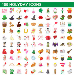 100 holyday icons set cartoon style vector image vector image