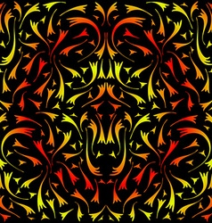 Yellow and red symmetrical pattern vector