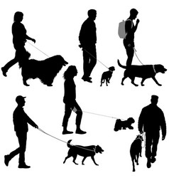 Set silhouette of people and dog on a white vector