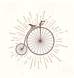Symbol of old vintage bicycle vector