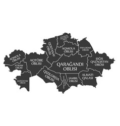 Kazakhstan map labelled provinces black in kazakh vector