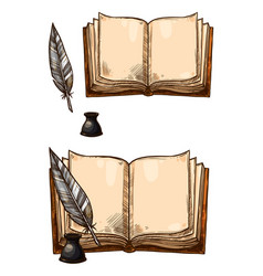 Old books and ink quill feather pens vector