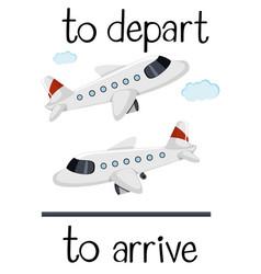 Opposite wordcard for depart and arrive vector