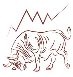 Bull and bulish stock market trend vector
