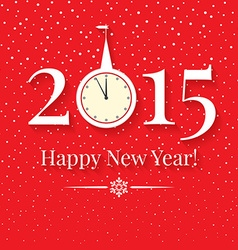 2015 new years background with clock and snowfall vector
