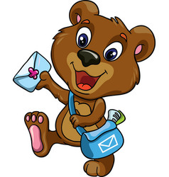 Bear postman on a white background vector